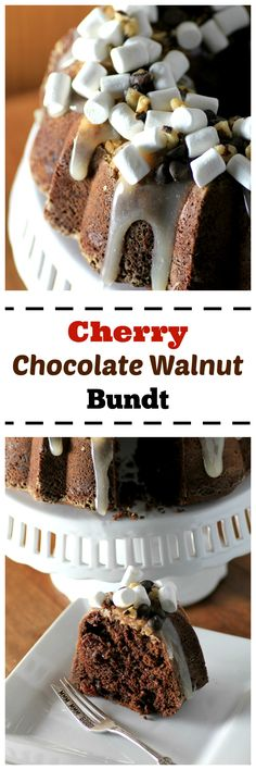 Cherry Chocolate Walnut Bundt by Noshing With The Nolands - A rich dark chocolate cake with cherries, walnuts, and rocky road toppings! #BundtBakers