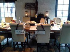 intimate wedding dinner at the Stage Tables at Virtue Feed & Grain rustic lanterns ~ simple elegant florals #virtuefeedgrain #virtueevents