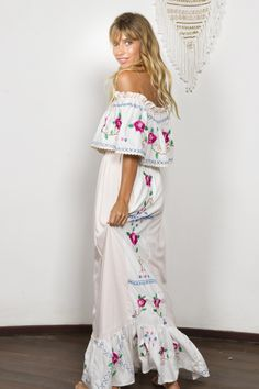 """""""Seeker Lover Keeper Nursing Dress"""" Embroidered Nursing Maxi Dress - Cross Stitch Fillyboo - Boho inspired maternity clothes online, maternity dresses, maternity tops and maternity jeans. Maternity Clothes Online, Maternity Tops, Maternity Dresses, Maternity Jeans, Nursing Dress, White Maxi Dresses, Dress Cuts, Boho Chic, Boho Style"""