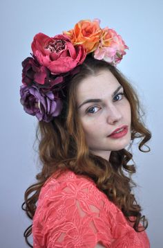 Bold Colourful Ombre Flower Crown Headpiece Flower Crown Headband 83632660bb3