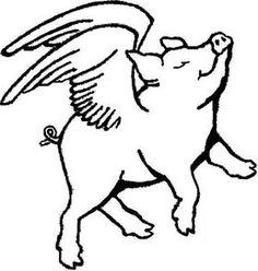 Free flying pig clipart flying pig outline pigs for Flying pig coloring pages