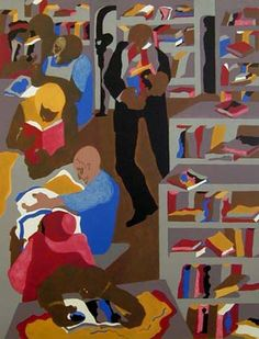Schomburg Library - by Jacob Lawrence 1987 No Location Found