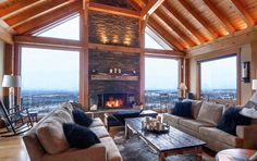 Timber Frame Interior Design - Normerica Authentic Timber Frame change the design of the keeping room to this? the outside wall Timber Frame Homes, Timber House, Timber Frames, Interior Design Gallery, Home Interior Design, Interior Decorating, Water House, Bungalow House Plans, Pole Barn Homes