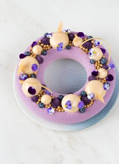 If you are looking for an outstanding cake, try this deliciously creamy and crunchy Almond and blueberry mousse cake! Purple Food Coloring, Almond Cream, Silicone Baking Mat, Mousse Cake, Cocoa Butter, Tray Bakes, Blueberry, Bakery, Deserts