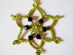 Green Beaded Snowflakes Crochet Earrings by CrochetMiracles, $12.00