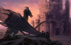 Final Countdown by Steves3511.  Balerion the Black Dread and Aegon the Conquerer overlooking Harrenhal before their night-time attack. #ASOIAF