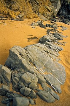 Rocks in the sand, Red Beach, Matala, Southern Crete, Greece
