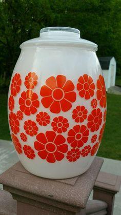 Retro Vintage Deco Bartlett Collins Orange Sunflower Glass Cookie Jar
