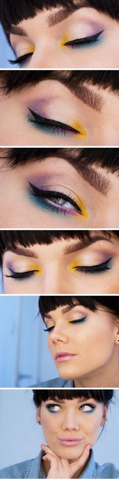 Linda Hallberg : make up insp : yellow blue pink nude shadows :
