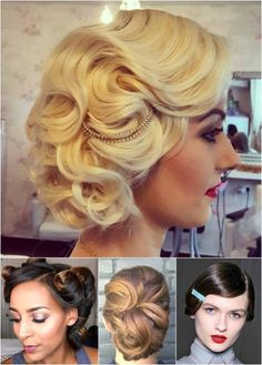 Vintage wavy updo for classic brides.