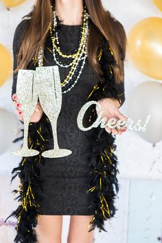 New Years Eve Glitter Decor Photo Props for Photo by ZCreateDesign