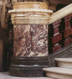 Grand staircase banister of the Opera Garnier, made in Peach Flower marble. Marble House, Napoleon Iii, Banisters, Grand Staircase, Phantom Of The Opera, Shades Of Purple, Louvre, Italy, Marbles