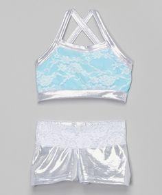 f019ae62177ef Look what I found on Silver   Sky Blue Lace Sports Bra   Shorts - Girls by  Elliewear