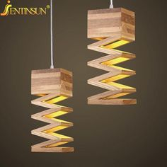 Modern Lamps Pendant Lights Wood Lamp for Restaurant Bar Coffee Dining Room LED Hanging Light Fixture Wooden Hollowed Lamparas #WoodworkingPlansFree