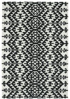 Handmade Black / Ivory Indoor / Outdoor Area Rug