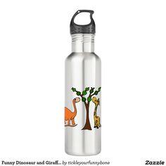 Funny Dinosaur and Giraffe Cartoon 18oz Water Bottle