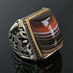 925 Sterling Silver banded Agate Aqeeq Turkish Handmade Mens Ring size10