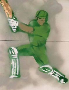 Graffiti of pakistan cricketer Collaborative work by special needs students @ SCEI www.sceipak.org