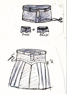 DIY jeans into pleated skirt Diy Clothing, Sewing Clothes, Clothing Patterns, Diy Jeans, How To Make Skirt, Diy Vetement, Denim Ideas, Denim Crafts, Recycled Denim