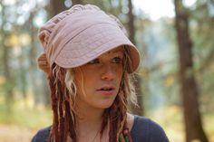 Wrap Bonnet Sun Cap in Light Pink Linen by ConsciousAlterations