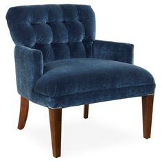 Check out this item at One Kings Lane! Brussels Chair, Blue Velvet