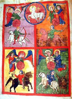 The Four Horsemen of the Apocalypse, Turin Beatus Codex, Beatus of Liébana Spain early 12th C.