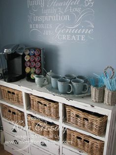 coffee station paradise this is what im wanting for my coffee bar! Coffee Nook, Coffee Bar Home, Home Coffee Stations, Coffee Corner, Coffee Bars, Tea Bars, Beverage Stations, Coffee Maker, Espresso Maker