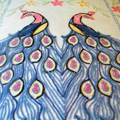What's prettier than a peacock?  TWO PEACOCKS!  Vintage Chenille Bedspread Peacocks in Blue by GloryBDesign, $125.00