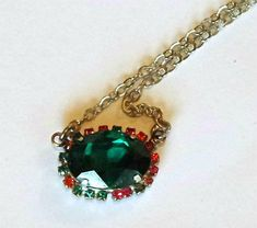 Swarovski Crystal 18X13mm oval fancy stone pendant necklace emerald #swarovski