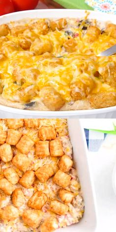 This easy and cheesy cowboy casserole recipe is a simple, hearty casserole with ground beef, veggies, spices, crispy tater tots and lots of cheese. Beef Casserole Recipes, Pasta Casserole, Tater Tot Casserole, Hamburger Casserole, Cowboy Casserole, Best Casseroles, Casseroles With Chicken, Casseroles With Ground Beef, Ground Turkey Casserole