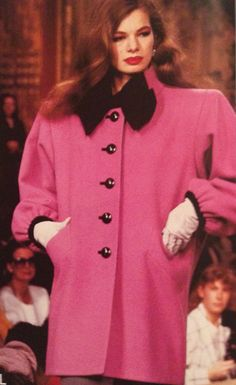 Yves Saint Laurent Haute Couture- A/W 1987-88 Pink wool coat jacket with black cuffs, buttons and bow collar. L'officiel No.734, September 1987