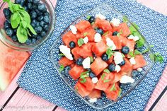 Sweet watermelon, plump berries and fragrant mint combine with rich feta cheese for a ideal salad combination!