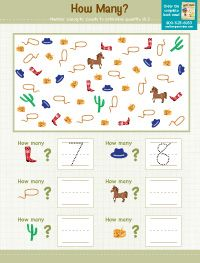 """C is for Cowboy Theme, """"How Many?"""" Number Concept Worksheet for the young ones Cowboy Theme, Western Theme, Western Cowboy, Preschool Themes, Preschool Worksheets, Preschool Activities, Summer Camp Crafts, Camping Crafts, Pioneer Day Activities"""