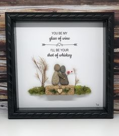 Pebble art / unique Valentine's Day gift idea / glass of wine / shot of whiskey Pebble Pictures, Stone Pictures, Craft Club, Craft Shop, Stone Painting, Rock Painting, Rock Sayings, Rock Sculpture, Stone Soup
