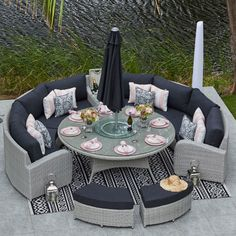 - 7 Year Guarantee - Machine Washable Luxury Fabrics - Dual Density Foam - Toughened Safety Glass - Double Woven - UV All Weather Resistant - 30 Day Money Back Guarantee - Designed by Moda Luxury Garden Furniture, Patio Furniture Sets, Terrazas Chill Out, Garden Sitting Areas, Big Bedrooms, Small Backyard Landscaping, Patio Design, Interior Design Living Room, Decoration