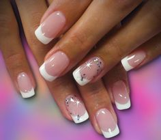 lovely french manicure with a touch of bling