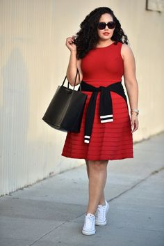 Red fit and flare Dress and Converse. Plus size/inbetweenie style idea. For more inbetweenie and plus size inspiration come to www.dressingup.co.nz