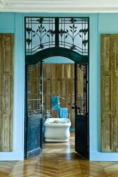 La Maison Boheme: mint blue Paris apartment on the Champ de Mars