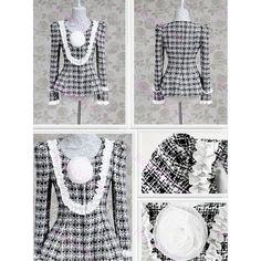 Veste femme en drape de laine carré noir blanc manches longues col U