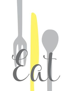 Modern Kitchen Wall Art - EAT Utensils, Cups Art Prints, Soft Yellow, Grey // Set of or // Kitchen Decor - Unframed - Kitchen Door Paint, Kitchen Wall Art, Kitchen Decor, Kitchen Art Prints, Wall Art Prints, Diy Wall Painting, Cricut Craft Room, Cup Art, Kitchen Pictures