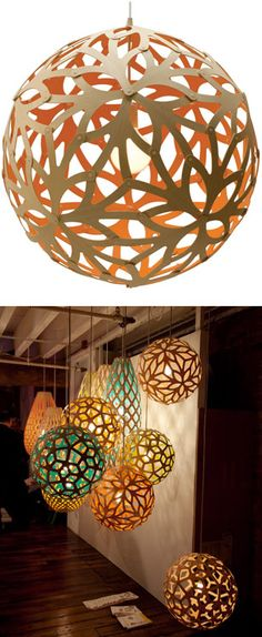 Floral cut out lamp / David Trubridge