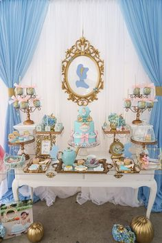 Godmother Cinderella Birthday Party table from Fairy Godmother Cinderella Birthday at Kara's Party Ideas. See more at !Party table from Fairy Godmother Cinderella Birthday at Kara's Party Ideas. See more at ! Cinderella Theme, Cinderella Party Decorations, Cinderella Baby Shower, Cinderella Centerpiece, Cinderella Quinceanera Themes, Cinderella Disney, Cinderella Wedding, Disney Princess Birthday, Aladdin Princess