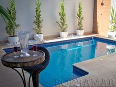 Small Swimming Pools, Small Backyard Pools, Small Pools, Swimming Pool Designs, Backyard Patio, Outdoor Pool, Outdoor Spaces, Front Yard Garden Design, Patio Design