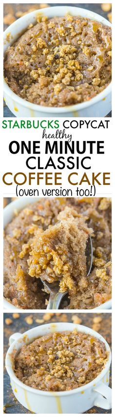 Healthy 1 Minute Classic Coffee Cake- Inspired by Starbucks this healthy cake recipe is moist fluffy and SO delicious- There's no oil butter or added sugar AND it only takes one minute- Oven option too! Healthy Cake Recipes, Mug Recipes, Healthy Desserts, Delicious Desserts, Cooking Recipes, Yummy Food, Recipies, Diabetic Snacks, Paleo Treats