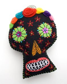 Felt Sugar Skull Plush Wall Art colorful katrina by RawBoneStudio, $29.00