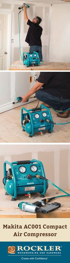 Makita AC001 Compact Air Compressor Combines compact size, low noise, a weight of only 23.1 lbs. and a 1/6HP induction motor for powerful, portable performance.