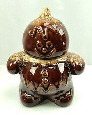 HULL Pottery vintage GINGERBREAD MAN COOKIE JAR Brown Ceramic *Signed*