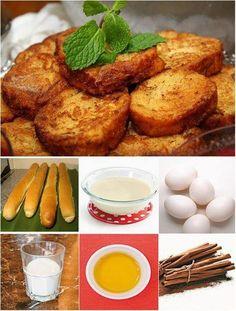RABANADA NO FORNO, sem fritura, mais macia e suculenta. Unte com manteiga uma assadeira de alumínio. Misture bem 1 lata de leite condensado com uma xícara de água e 1 colher (chá) de essência de baunilha. Passe nesta mistura 2 pães, amanhecidos, fatiados e depois em 3 ou 4 ovos grandes (bem batidos). Escorra e coloque sobre a assadeira. Leve ao forno médio (180ºC) por 15 minutos ou até dourarem.