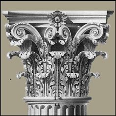 shows in greater detail Corinthian Column capital Architecture Portfolio, Architecture Details, Architecture Art, Corinthian Order, Column Capital, Pillar Design, Architectural Columns, Classic House Design, Ornament Drawing