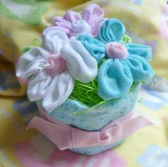 Diaper Cake with 3 Flowers for Girl, Boy or Neutral....Baby Shower. $21.25, via Etsy.